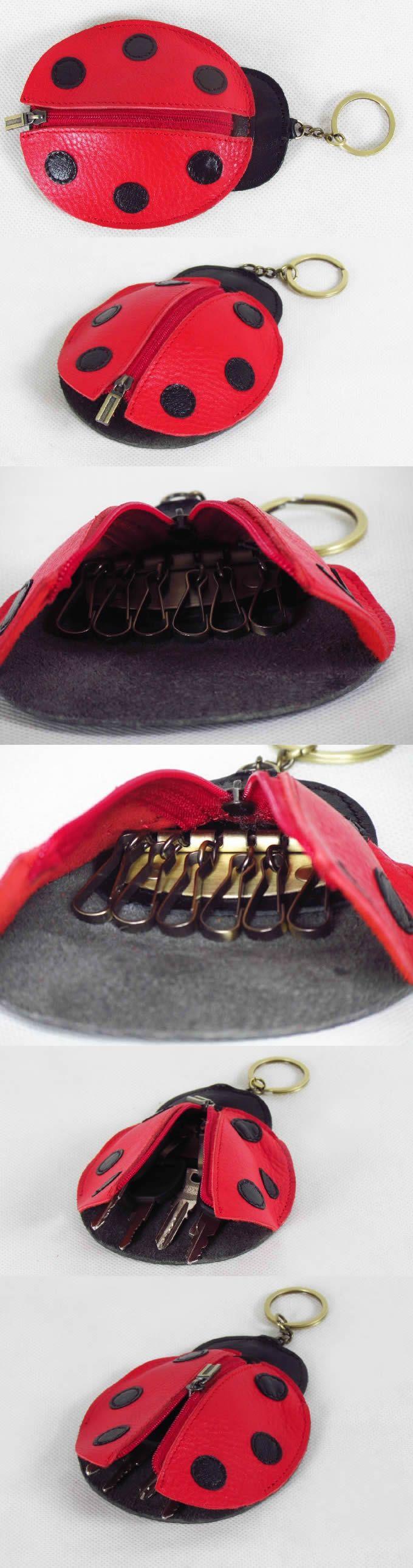 Ladybug Leather Keychain Bag Case Key Holder