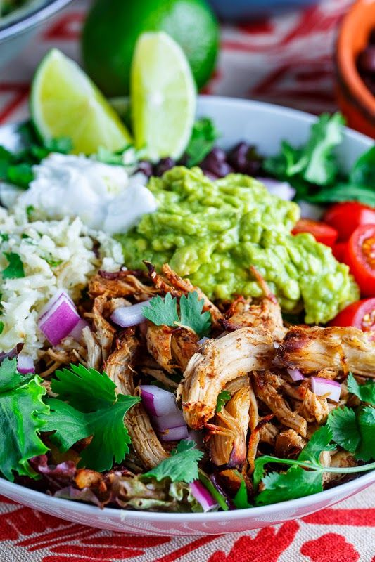 Chicken Carnitas Burrito Bowl with Cilantro Lime Cauliflower Rice Calories 381, Fat 12.3g (Saturated 2.1g, Trans 0), Cholesterol 90mg, Sodium 382mg, Carbs 25.3g (Fiber 9.6g, Sugars 8.2g), Protein 45.6g