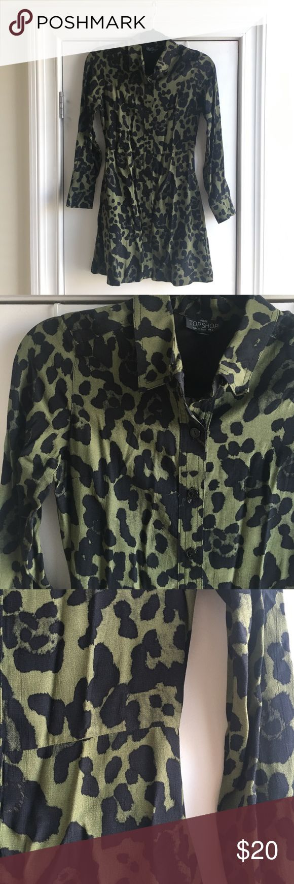 Topshop Petite Leopard Print Shirt Dress Topshop olive green leopard print button down shirt dress with a slightly tapered waist (see photo detail).   Perfect for fall. Layer over tights or jeans (dress-over-jeans trend!) or a turtleneck top.   Size PETITE US 0, EUR 32, UK 4. Measurements upon request. Topshop PETITE Dresses Long Sleeve