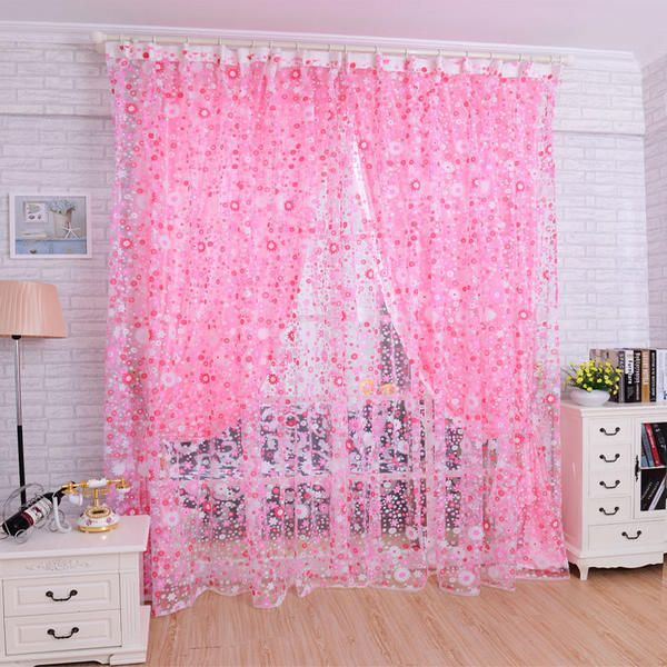 Fashion Floral Tulle Voile Door Window Curtain Drape Panel Sheer Scarf Valances…