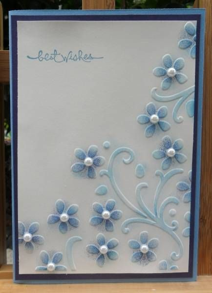 embossing folder (Elegant Bouquet), colored in, inked with pearls in centers