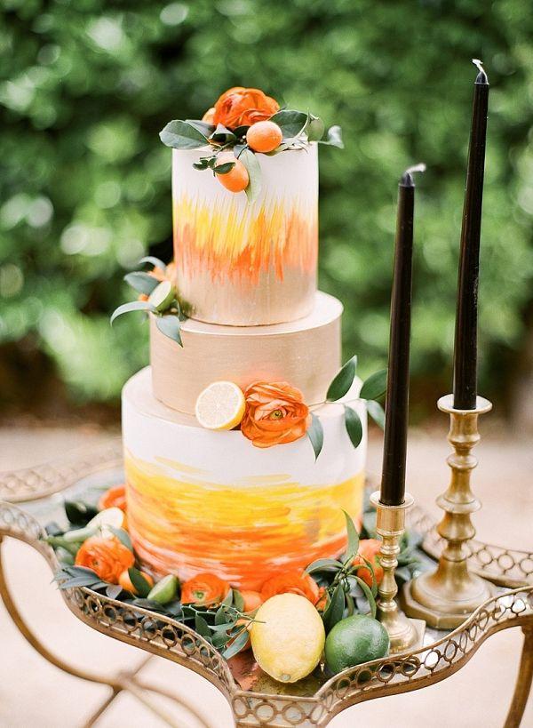 Orange painted wedding cake    #wedding #weddingideas #aislesociety #cake #weddingcake #citrus