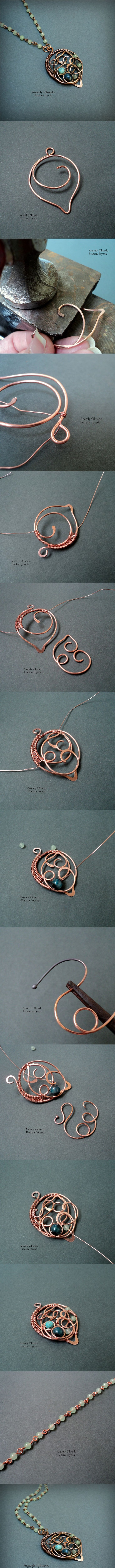 Materials and Tools: - 18 gauge copper wire (base part) - 20 gauge copper wire (For the part of the image # 8) - 22 gauge copper wire (For Chain). - Natural Stones. - Sandpaper of different calibers. - Lima for jewelry. - Anvil and Hammer. - Ammonia solution. - Polishing paste.