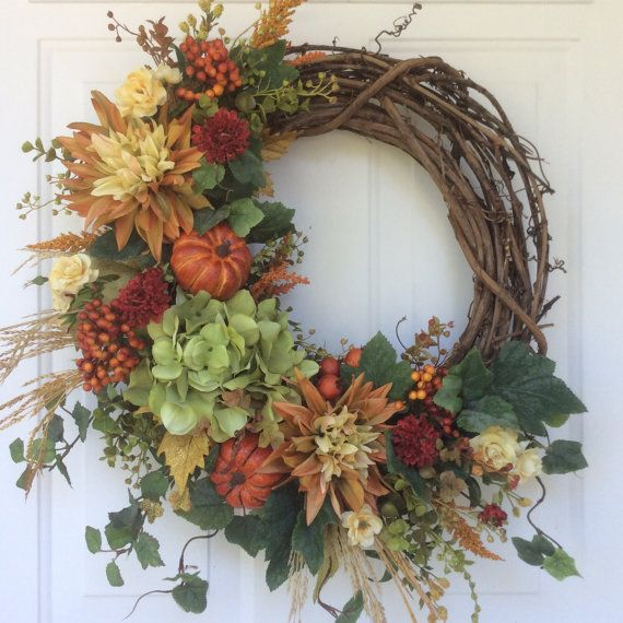Fall Wreath-Fall Decor-Pumpkin Wreath-Rustic by ReginasGarden