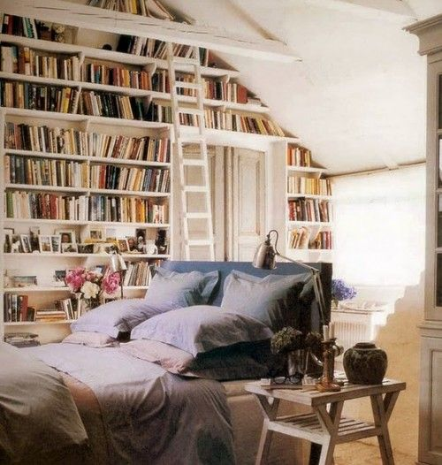 library behind the bed