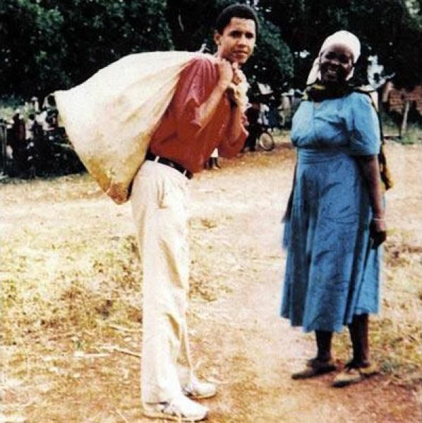 A photograph taken in 1987 of Barack Obama and his grandmother Sarah Hussein Obama hangs in her home in the village of Nyagoma-Kogelo, western Kenya.