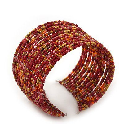 Boho Red/Gold/Orange Glass Bead Cuff Bracelet - Adjustable (To All Sizes) Avalaya. $8.10. Metal Finish: silver plated. Style: boho. Material: glass. Type: stretchy. Occasion: beach holiday, casual wear
