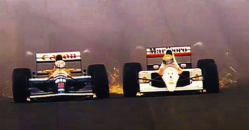 Mansell in the Williams-Renault FW14B vs. Senna in the McLaren-Honda MP4-7