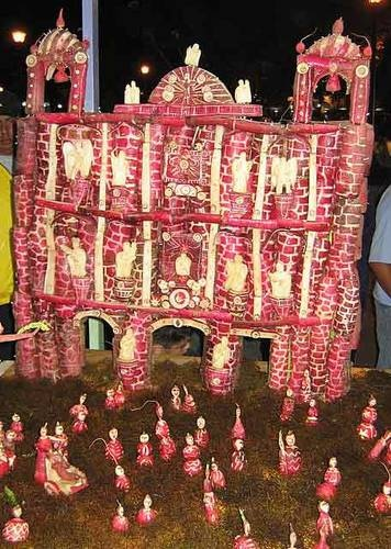 Radish church carved for Noche de Rabanos (Night of the Radishes), Oaxaca, Mexico