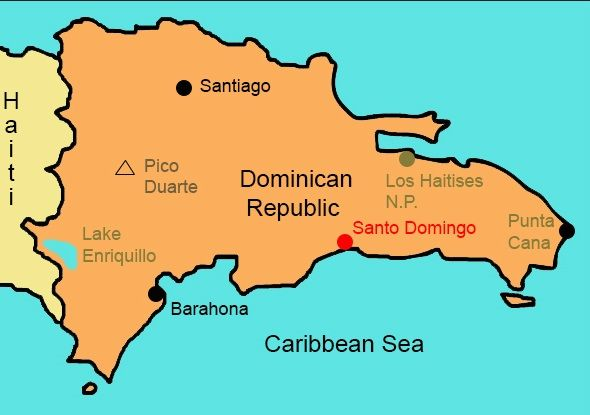 Map of Dominican Republic showing the location of Santo ...