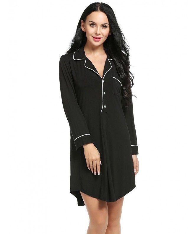 f97a5e8b13 Womens Nightshirt Button Down Pajama Top Boyfriend Shirt Dress Nightie  Sleepwear S-XXL - Black2 - CL189H0E5CT