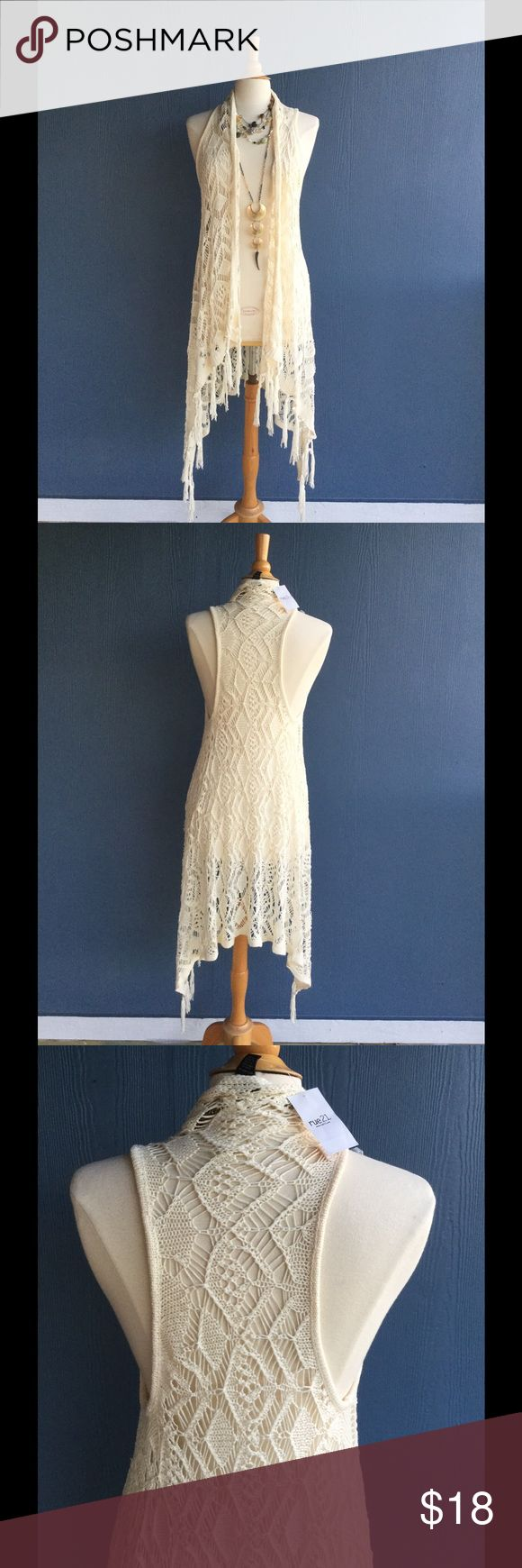 💕SOLD 💕Crochet duster Size Medium Jrs. Can fit up to Jrs large. Rue 21 Tops Tunics