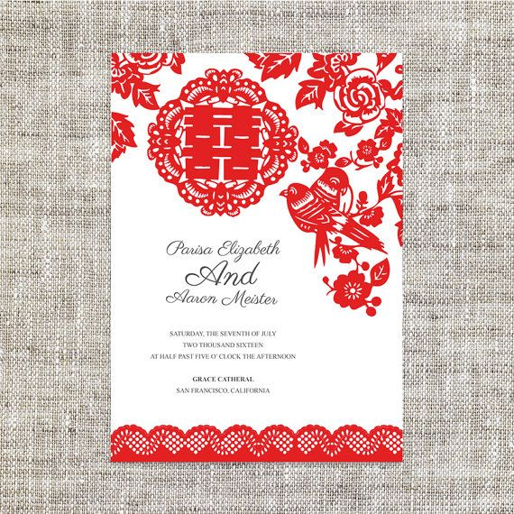 Diy Printable Editable Chinese Wedding Invitation Rsvp Card Template Instant Red Paper Cut Lace Traditional 婚禮喜帖 喜喜double Hiness Other
