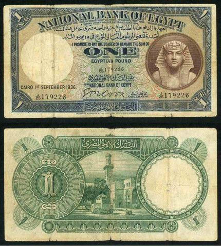 "Description: A nice about fine banknote from Egypt. This is the 1st September 1936 one pound currency note. The banknote, which was issued by the ""National Bank of Egypt"" and printed by Bradbury, Wilk"