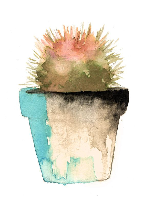 Succulent Watercolor Print by LovelyByErinMarie on Etsy