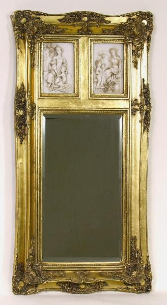 Gold Frame Wall Mirror with Cherub Inserts