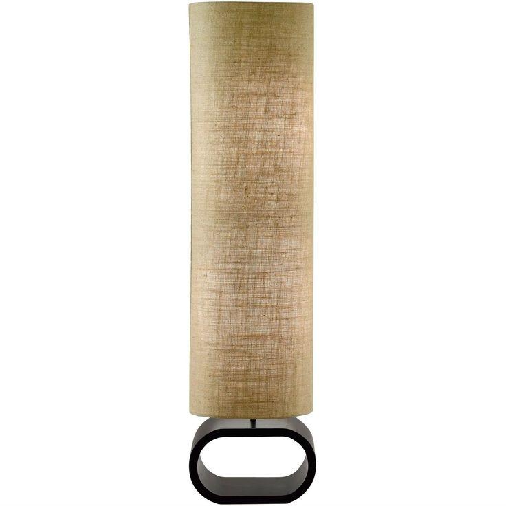 Cylinder Shape Medium Brown Burlap Floor Lamp With Bent Wood Base Floor Lamp Natural Lamps