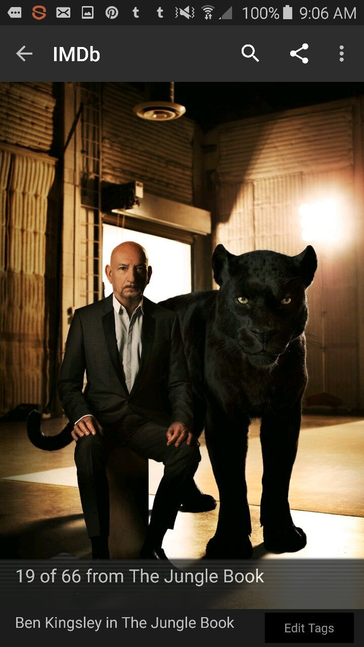 The jungle book actors posing with their animals characters ben kingsley is bagheera