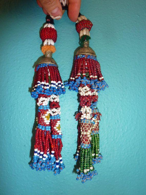 Tribal-Quasten vintage Alte Perlen-Tribal-Quasten von neemaheTribal