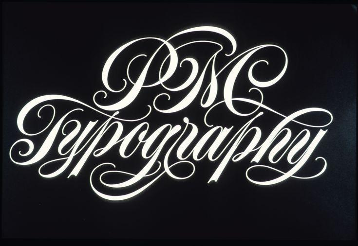 "An example of Spencerian lettering. ""PM Typography"" title for calendar published by PM Typography (1985) by Ton Di Spigna."