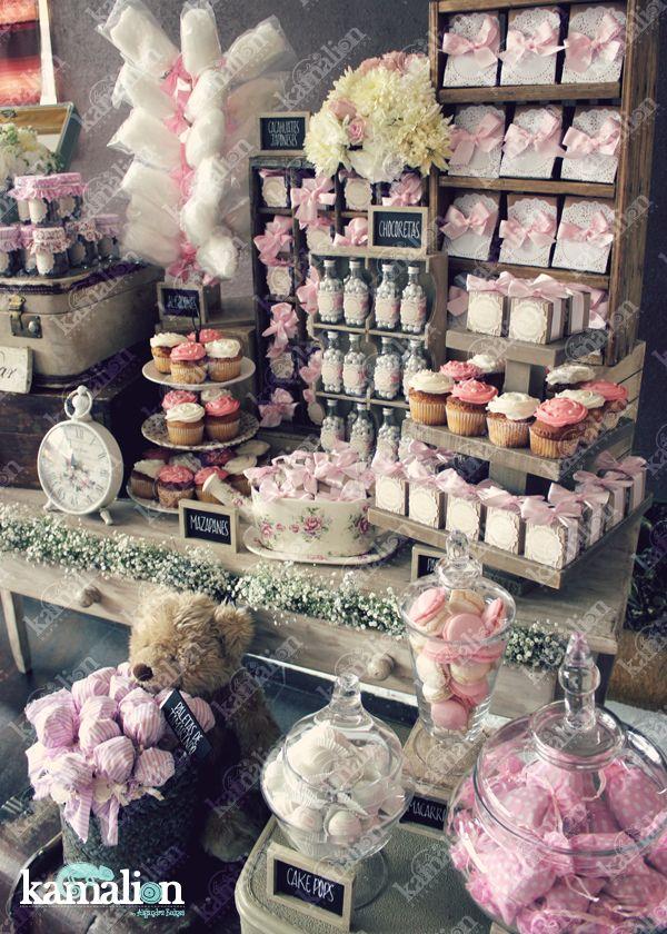 www.kamalion.com.mx - Candy Bar / Decoración / Vintage / Teddy / Pink / It's a girl / Dulces / Macarrones / Rosa/ Dulces / Lecheros / Rústico / Baul / Maletas / Algodones.