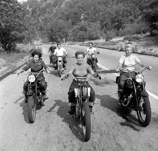 Women on motorcycles, photo by Loomis Dean,1949 Life magazine
