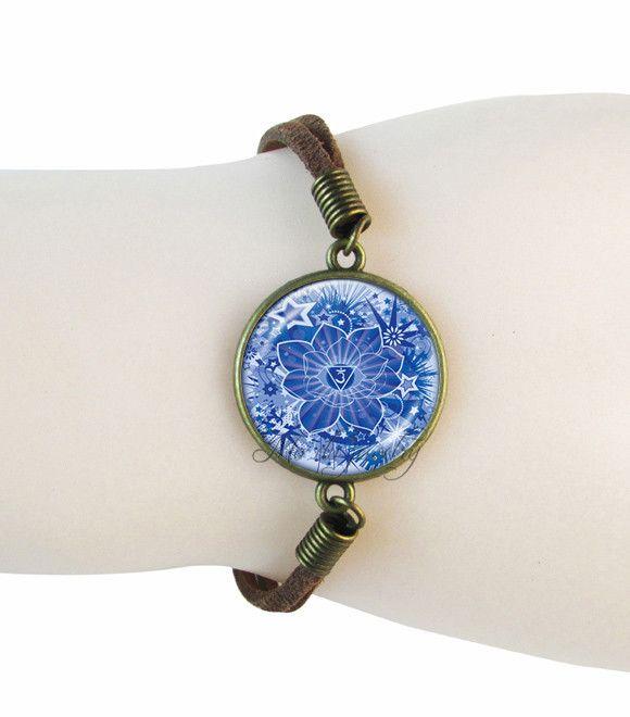 Ом символ браслет мандала ювелирных йога-замшевые, кожаные браслеты индийского ювелирного искусства стеклянный купол круглый кулон Буддизм, дзен подарки