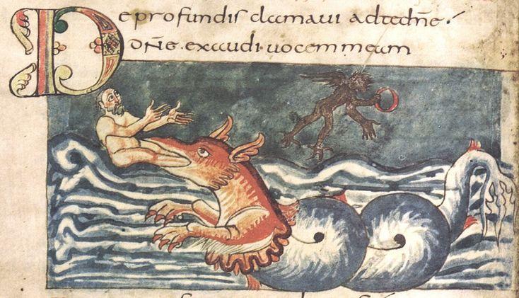 "https://flic.kr/p/688oHF | Jonah emerges from the whale (Ketos) - Carolingian miniature folio-147v | Ernest T. DeWald (1930): ""The largest assemblage of pictures to have come down to us from the Carolingian period.""   The Stuttgart Psalter, an illuminated Carolingian manuscript Place of origin: Saint-Germain-des-Prés Date of manuscript : around 830 CE Signature : Cod. bibl. 23 Present location: Stuttgart, Württembergische Landes-Bibliothek"