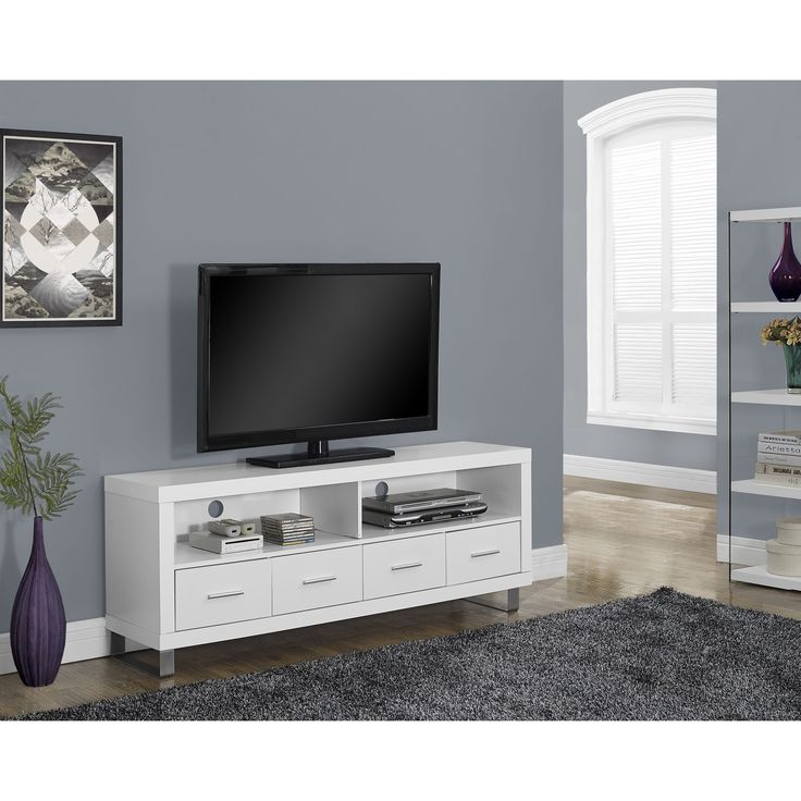 monarch specialties white hollowcore tv console with 4 drawers bring convenient media storage to your home with this pure white tv