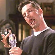 Cher and doll on Will and Grace: Expensive Dolls, Make Me Laughing, Karen O'Neil, Jack O'Connell, Jack Mcfarland, Funny Stuff, Will And Grace, Favorite Funny, Jack Will