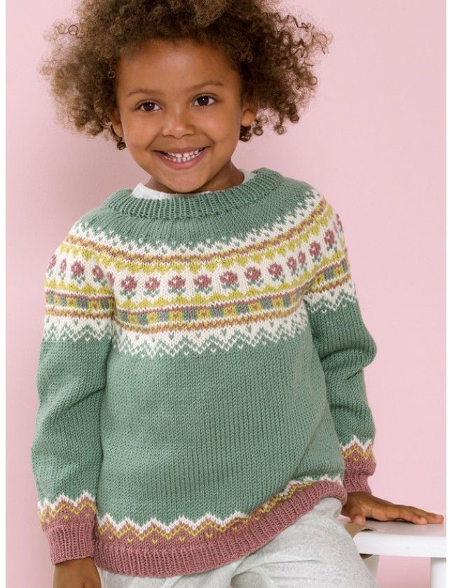 Nora rundfelt genser (6 mnd - 4 år). Garnpakke i Lanolin Wool fra Dale Garn.