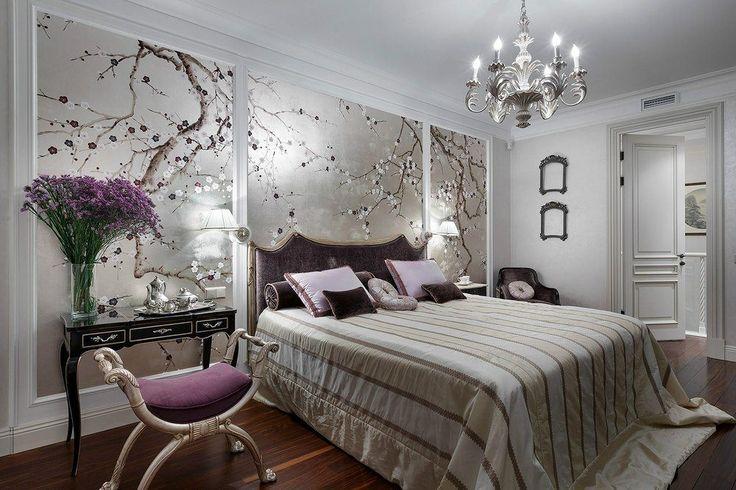 Дизайн спальни в серых тонах.