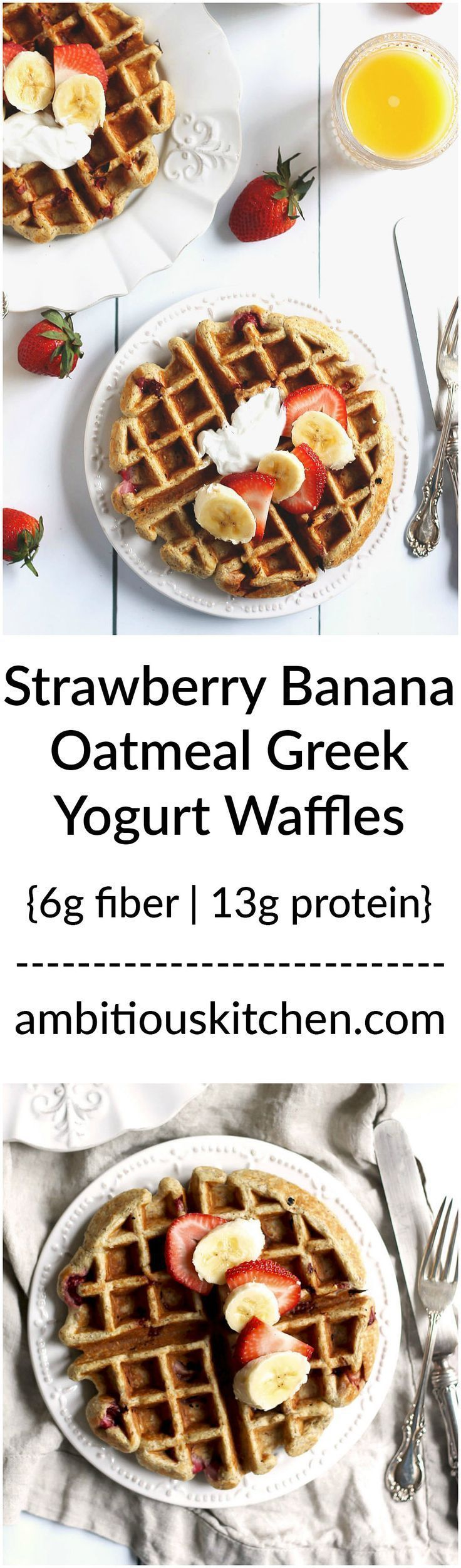 Healthy Strawberry Banana Oatmeal Greek Yogurt Waffles packed with protein, fiber and nutrition. Just toss everything in the blender (besides the strawberries) to make the batter! Top with peanut butter, maple syrup or extra greek yogurt.