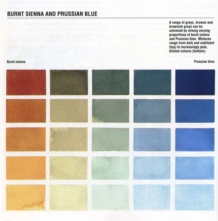 Color mixing tips: Burnt Sienna and Prussian Blue                                                                                                                                                      More