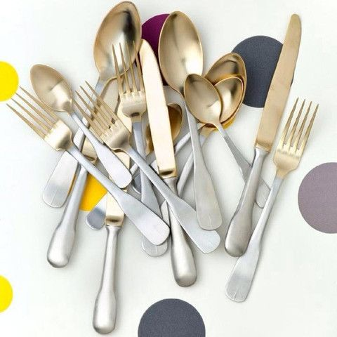 Collected gold plated cutlery set