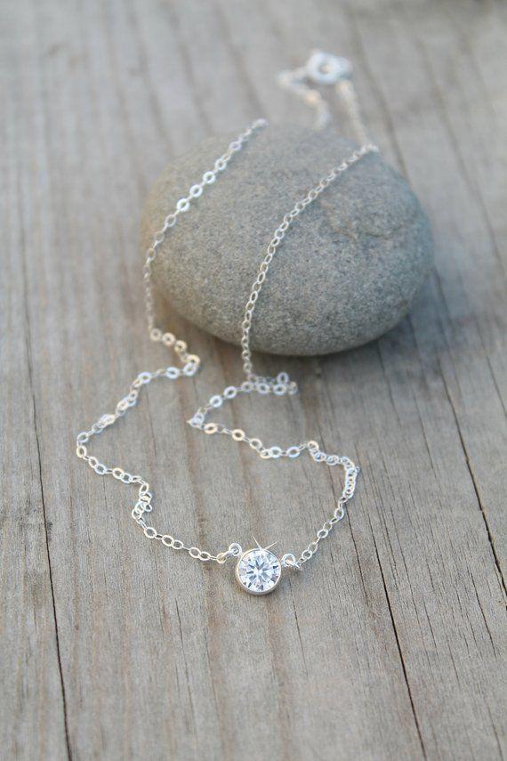 f1b1c631f Tiffany style Cubic zirconia solitaire diamond necklace, 14k gold ...