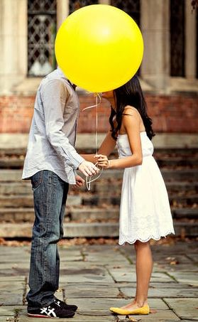 yellow balloon engagement for save the date