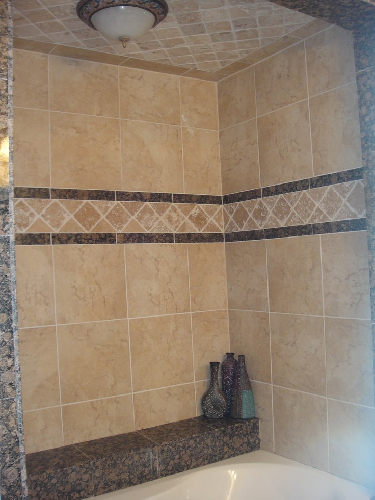 51 best tile images on pinterest tiled showers bathroom for Tumbled marble bathroom designs