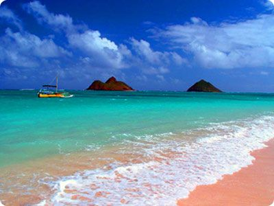 Lanikai Beach, Hawaii - pink sand, teal waters, blue sky. I never saw a beach with actual pink sand - love it!