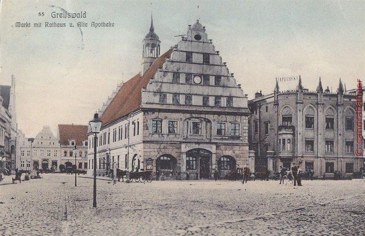 AK Greifswald. Markt mit Rathaus u. Alte Apotheke, Laternen, 1911 | eBay