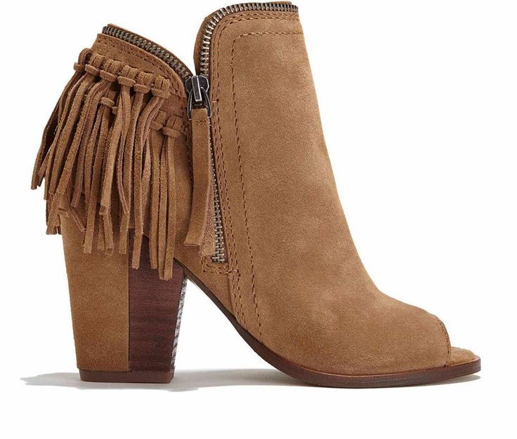 FRINGE BENEFITS The PROMISE is a peep-toe ankle bootie with fringe details and side zipper closure.Details DV by Dolce VitaUpper100% SuedeHeel...  Promise Booties