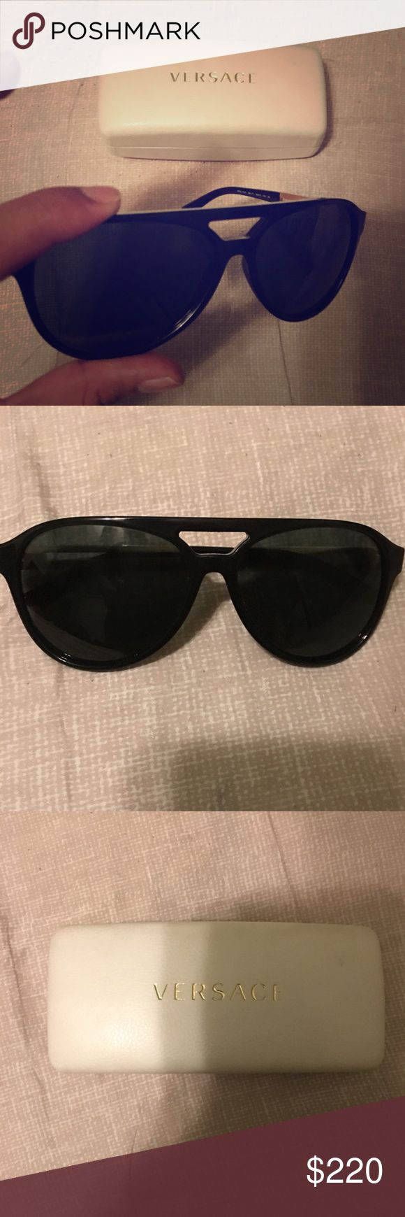 Versace sunglasses Slightly worn Mens Versace aviator style sunglasses. Selling because I feel like they are too big for my face. Versace Accessories Sunglasses