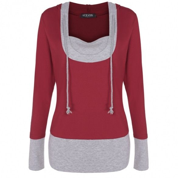 Stylish Ladies Women Casual Long Sleeve Patchwork Hoodie Pullover Sweatershirt Leisure Sports Top