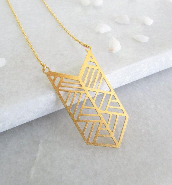 Gold Geometric Necklace Chevron Necklace Geometric