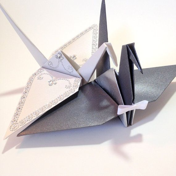Bride Groom Pair Of Large 12 Origami Cranes Table Centerpieces Wedding Photo Prop Bridal Shower Decorations Paper Anniversary