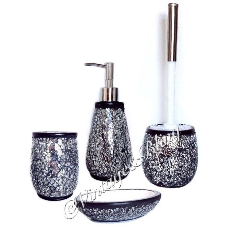NEW Black Silver Crackle Mirror Bathroom Accessories Accessory Set Toilet  Brush