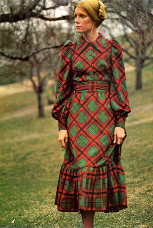 Arthur Elgort photographed this Miss Vogue design, Vogue 8103, ca. 1971. Shown in Abraham sheer wool challis, and apparently cut on the bias to play with the check. Note the covered button detail.
