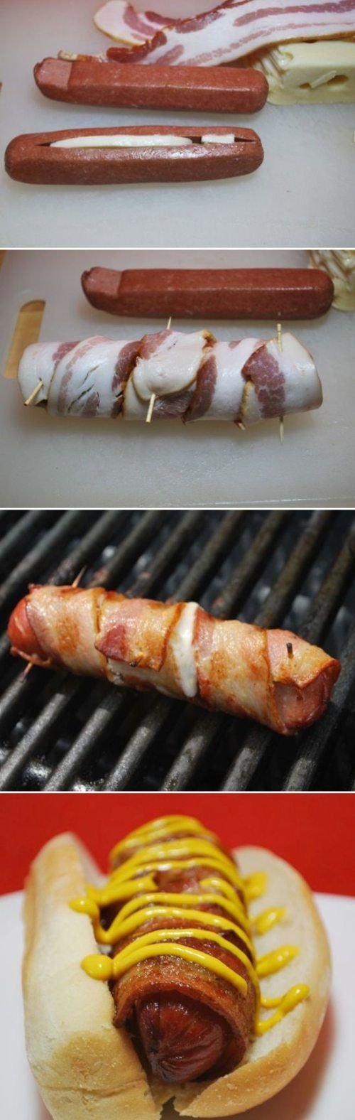 BBQ Bacon wrapped cheese stuffed hotdogs!! Best hotdog I've ever had. We only make them this way now. We put them on the Hawaiian hotdog buns.. It takes them to the next level! Yummm