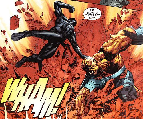 "bpkingofthedead:  "" Black Panther vs Black Dwarf by Jonathan Hickman & Mike Deodato  """