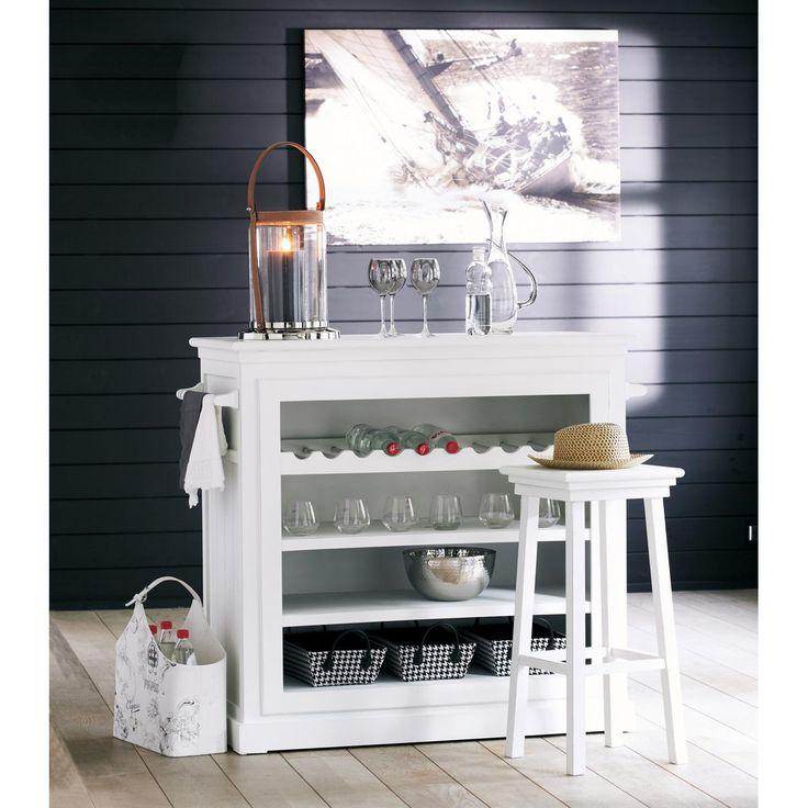tabouret de bar en bois blanc newport maisons du monde modern design pinterest tabourets. Black Bedroom Furniture Sets. Home Design Ideas